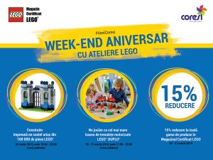 Ateliere LEGO în week-end-ul aniversar Coresi Shopping Resort Brașov